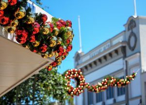A view of the garlands that will decorate Masterton's CBD this year. PHOTO/DAVE LINTOTT