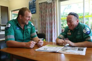 WFA Wairarapa area manager Nigel Watson and paramedic Al Bealing make the most of their down time doing the daily quiz.