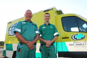 Wellington Free Ambulance paramedics, father and son Rob (left) and Andrew Gladding.PHOTO/HAYLEY GASTMEIER