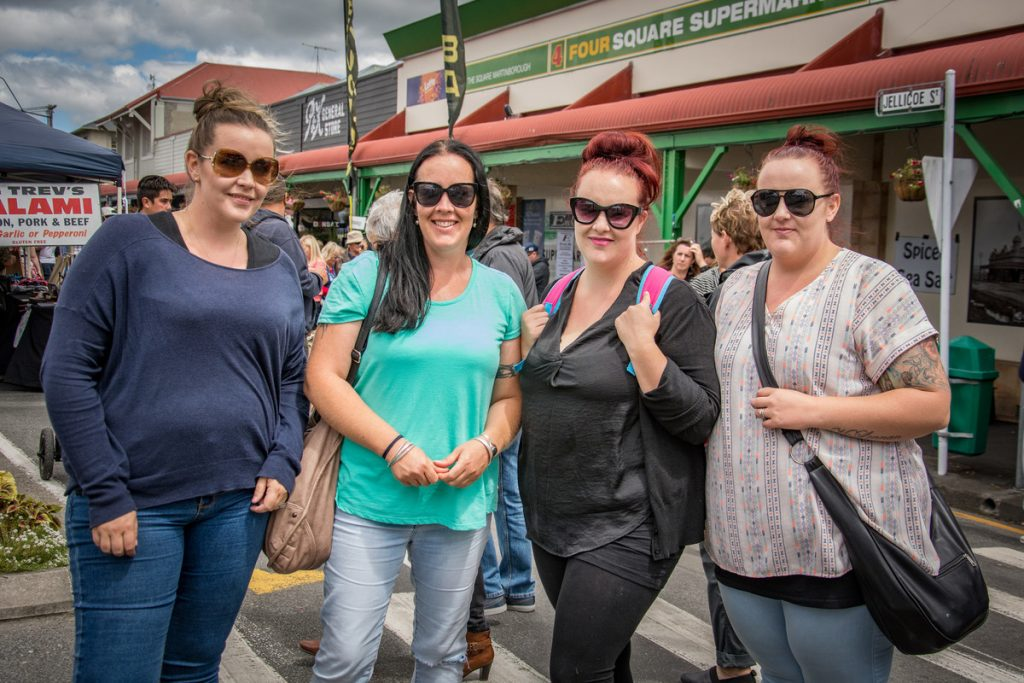 These sisters never miss a Martinborough Fair, Chelsea Maxwell, Emma Roe, Sophie Matthews, Hannah McLennan, all from Masterton. PHOTO/JADE CVETKOV