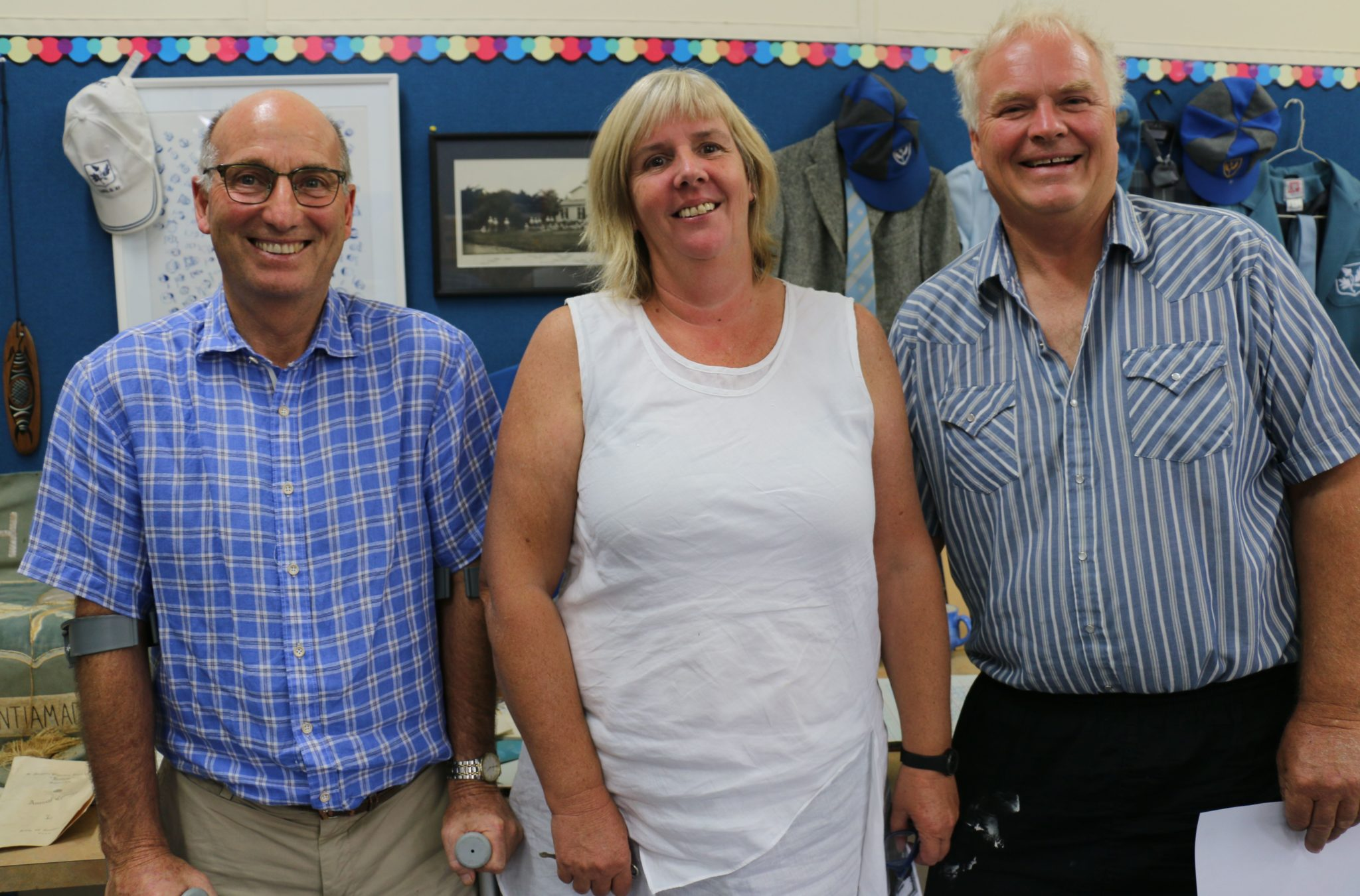 Hadlow principal Michael Mercer, with ex-pupils, Andrina Goodwin and John Murphy, who along with their 1971 classmates rallied to have the name of New Zealand changed to Aotearoa. — Photograph: Hayley Gastmeier/Wairarapa Times-Age.