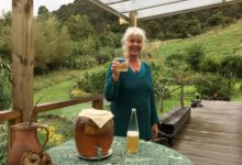 Hella Coenen with her kombucha brew at home in rural Masterton. PHOTO/SUPPLIED