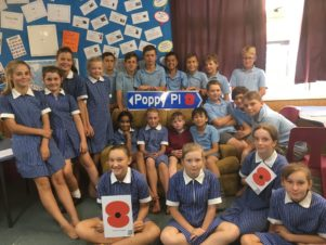 St Teresa's School pupils are writing the history behind Featherston's new Poppy Places, which are being unveiled on April 20. PHOTO/SUPPLIED
