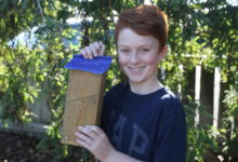 Chester Thawley, 10, of Opaki School with his weta motel. PHOTO/EMILY IRELAND