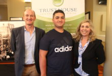 Trust House CEO Allan Pollard, YETE graduate Cleveland Conaghan, and Copthorne Solway Park operations manager Leeann Campbell. PHOTO/EMILY IRELAND