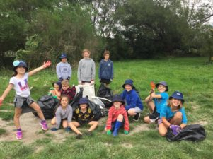 Opaki students picked up six big bags of rubbish from the Tirohanga Wilton Family Reserve – best known as Double Bridges. PHOTO/SUPPLIED