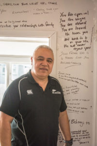 Wayne shares the messages which are written on the walls of the crisis accommodation for youth. PHOTO/JADE CVETKOV