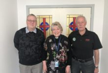 Masterton Host Waipoua Lions Club members George Norris, left, and Ross Bonnett, right, with Wairarapa Hospital chaplain Lizzie Snowsill. PHOTO/RENE CLOUGH