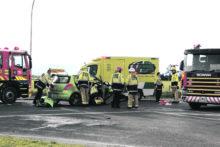 One hospitalised after crash