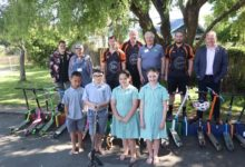 Wairarapa road safety council, Men's Shed, and Mitre 10 present St Patrick's School scooter stands for the organised chaos created from the students loved mode of transport. PHOTO/EMMA BROWN